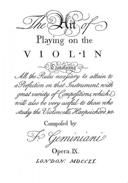 The Art of playing on the Violin, op. 9 – Francesco Geminiani