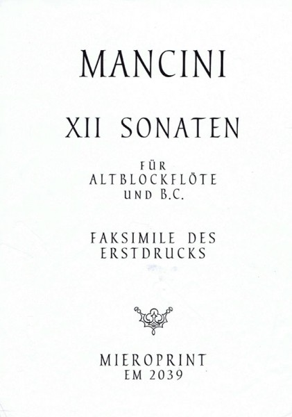 12 Sonatas – Francesco Mancini