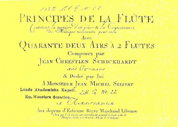 Principes de la Flûte – Johann Christian Schickhardt