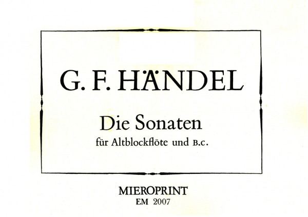 Complete solo works for Recorder – Georg Friedrich Händel