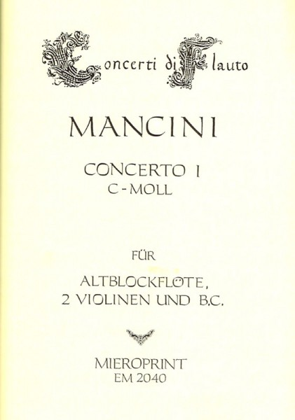 Concerto C minor – Francesco Mancini