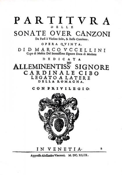 13 Sonaten Op. 5 – Marco Uccellini (1630 – 1680)